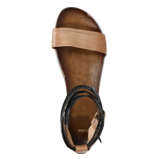 Dámské sandály s kontrastním páskem bata, hnědá, 566-3603 - 19