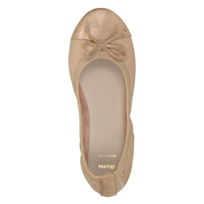 Dámské baleríny s pružným lemem bata, béžová, 521-5601 - 19