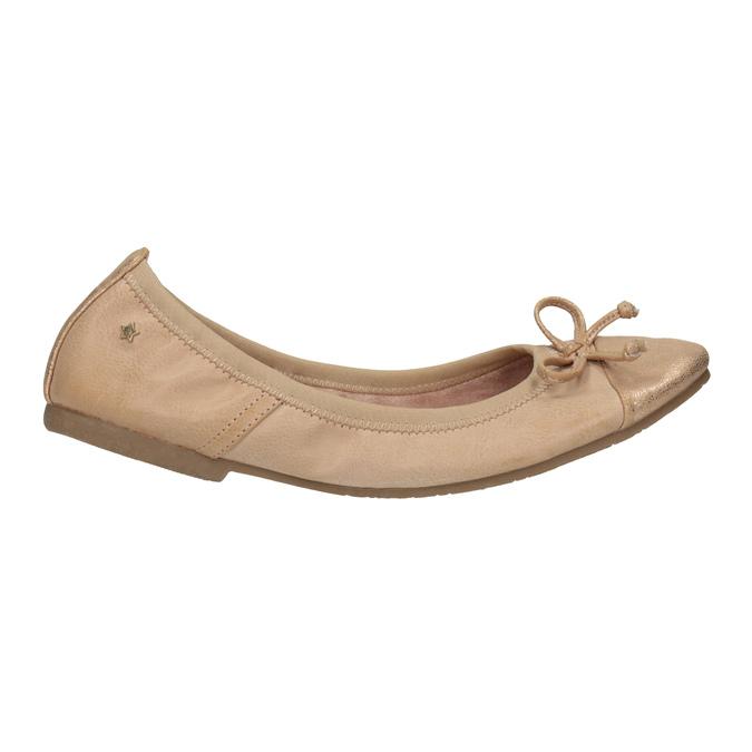 Dámské baleríny s pružným lemem bata, béžová, 521-5601 - 15