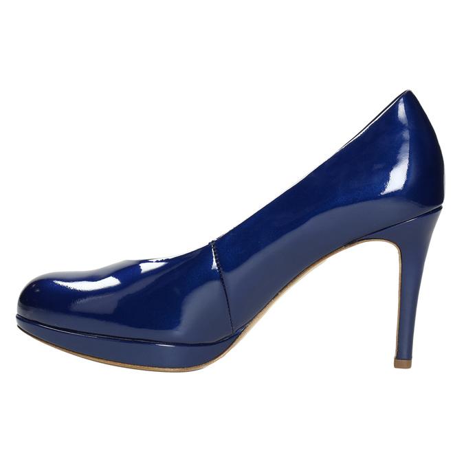 Kožené lakované lodičky hogl, modrá, 728-9400 - 26