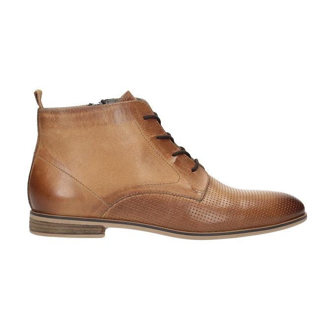 Kožená kotníčková obuv s perforací bata, hnědá, 596-4645 - 15