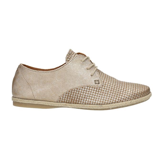 Dámské kožené polobotky bata, béžová, 526-8629 - 15