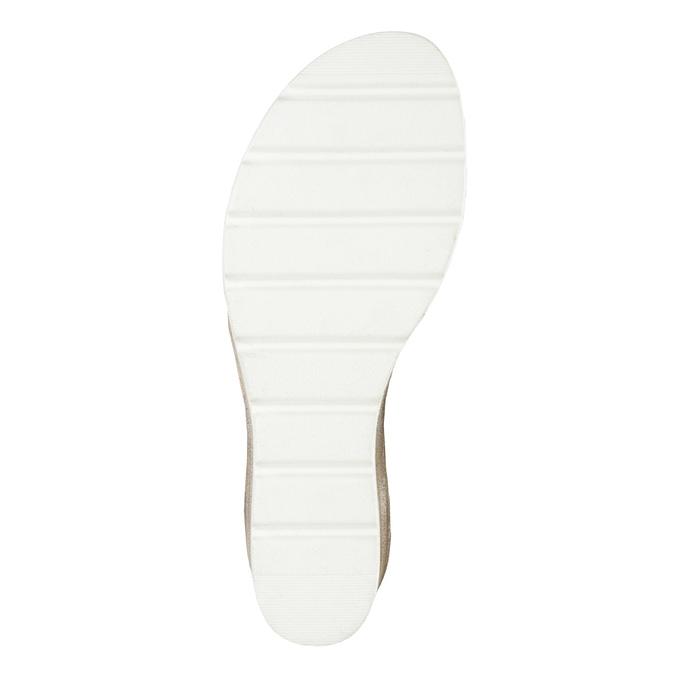Kožené sandály na klínku s perforací bata, šedá, 666-2606 - 26