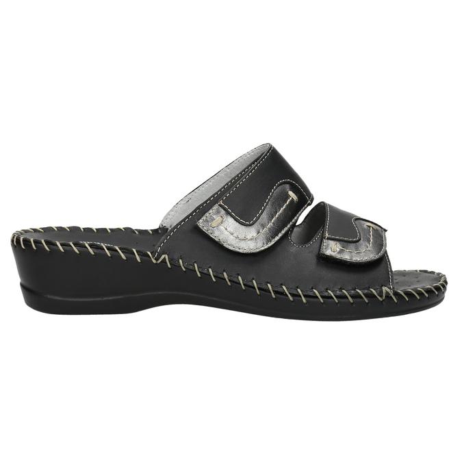 Kožená domácí obuv comfit, černá, 674-6600 - 15