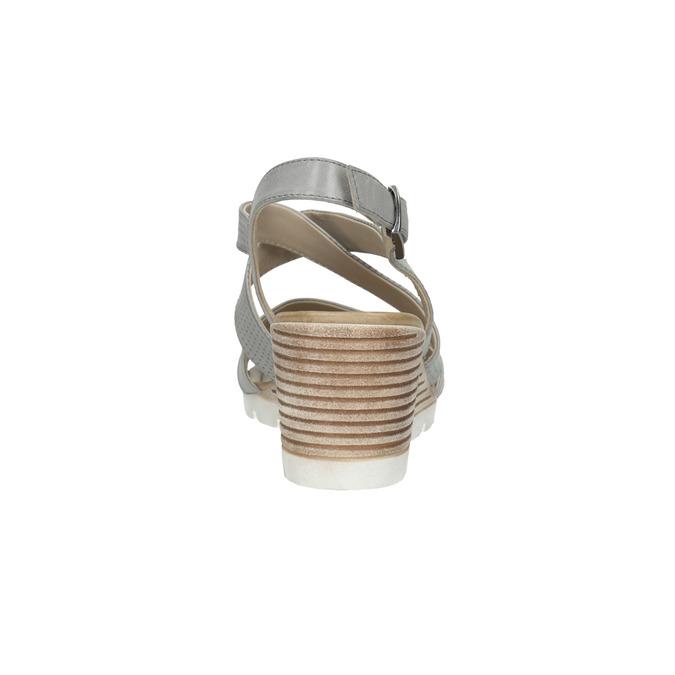 Kožené sandály na klínku s perforací bata, šedá, 666-2606 - 17