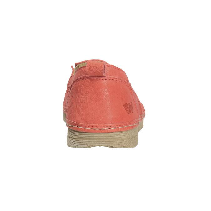 Dámské kožené Slip-on s perforací weinbrenner, oranžová, 516-5609 - 17