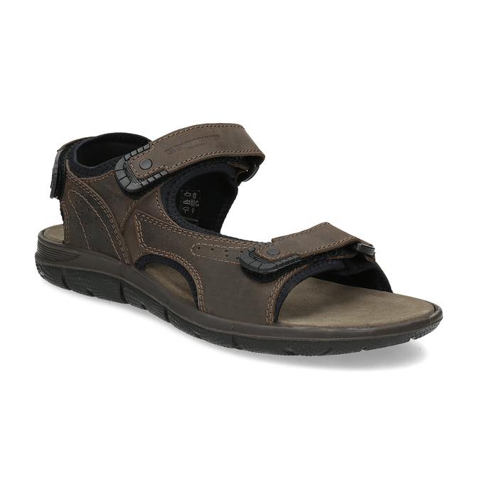 Hnědé pánské sandály z broušené kůže weinbrenner, 866-4631 - 13