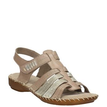 Kožené sandály šíře H bata, hnědá, 566-4604 - 13