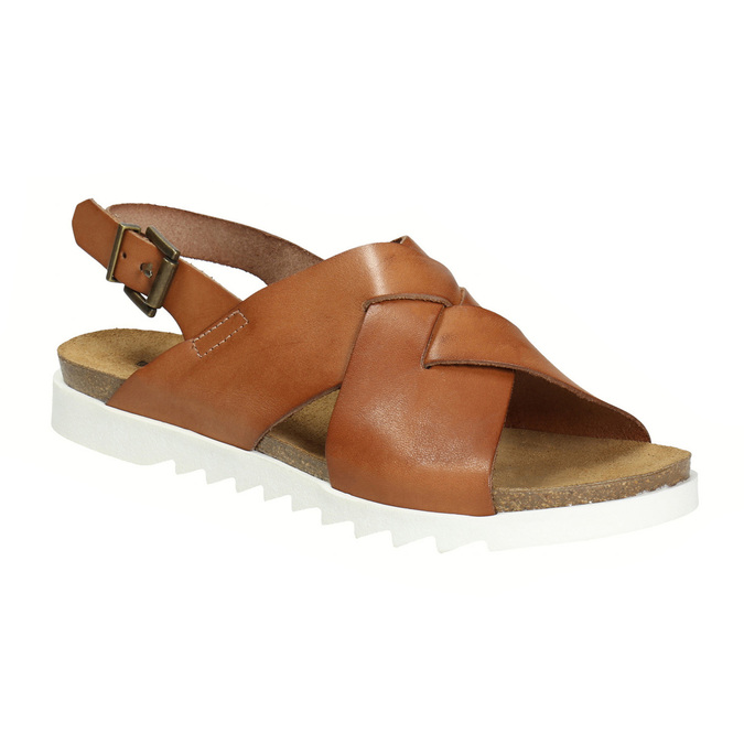 Dámské kožené sandály s propletením weinbrenner, hnědá, 566-4628 - 13