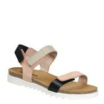 Kožené dámské sandály na suchý zip weinbrenner, růžová, 566-3630 - 13
