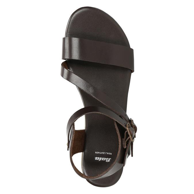 Hnědé kožené sandály bata, hnědá, 566-4613 - 19