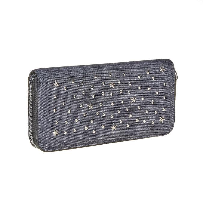 Dámská peněženka s kovovými cvoky bata, modrá, 949-9121 - 13