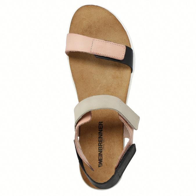 Kožené dámské sandály na suchý zip weinbrenner, růžová, 566-3630 - 26