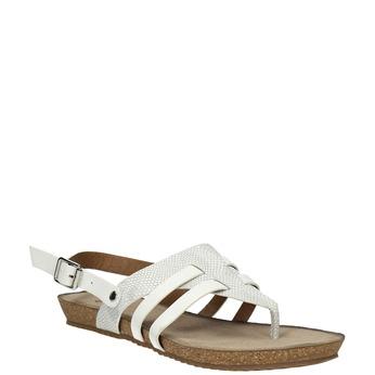 Korkové sandály s páskem mezi prsty bata, bílá, 561-1606 - 13
