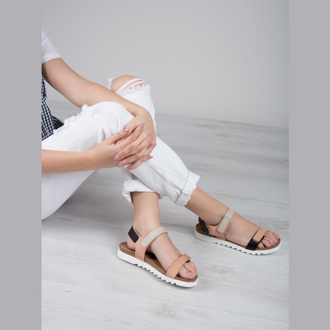 Kožené dámské sandály na suchý zip weinbrenner, růžová, 566-3630 - 18