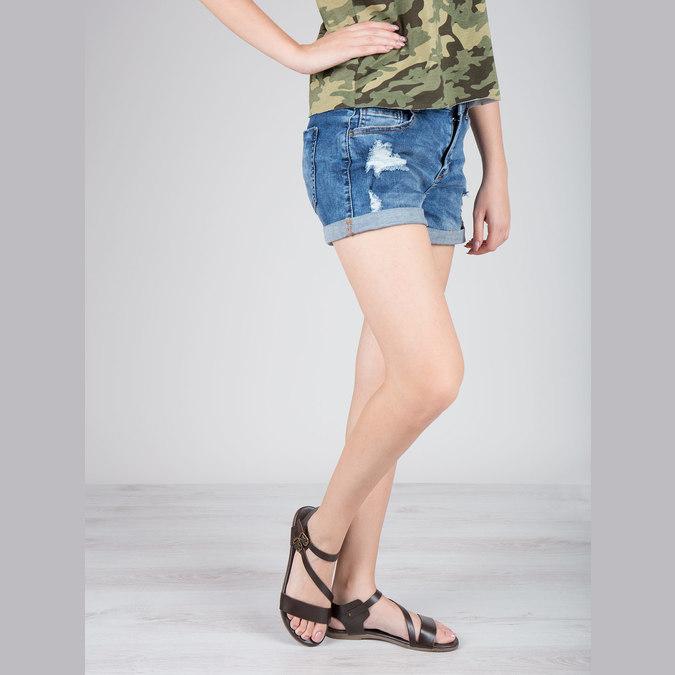 Hnědé kožené sandály bata, hnědá, 566-4613 - 18