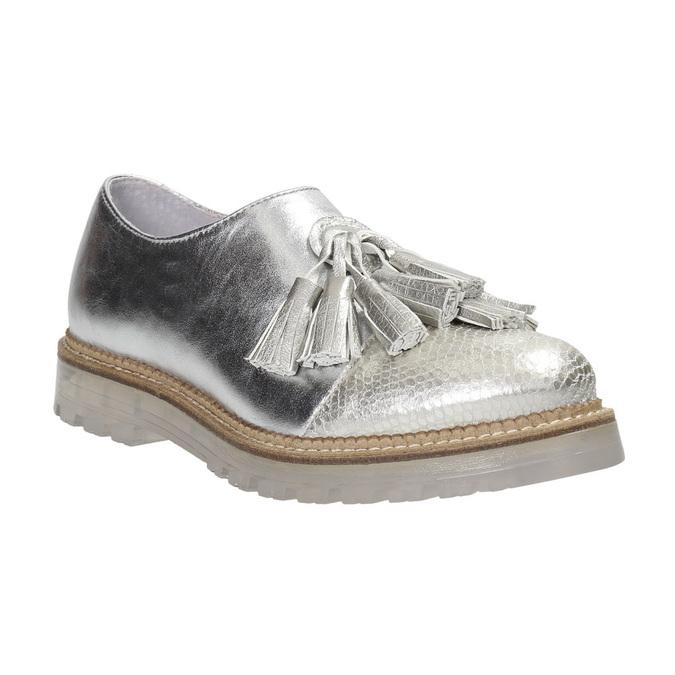 Dámské kožené polobotky stříbrné bata, stříbrná, 536-1600 - 26