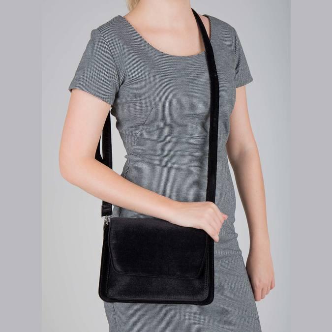 Sametová dámská Crossbody kabelka bata, černá, 969-6662 - 18