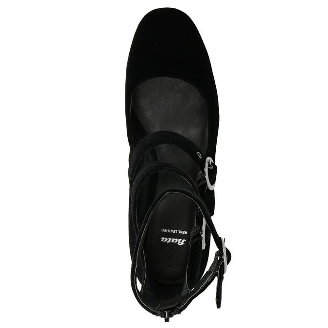Sametové lodičky s pásky bata, černá, 629-6632 - 26