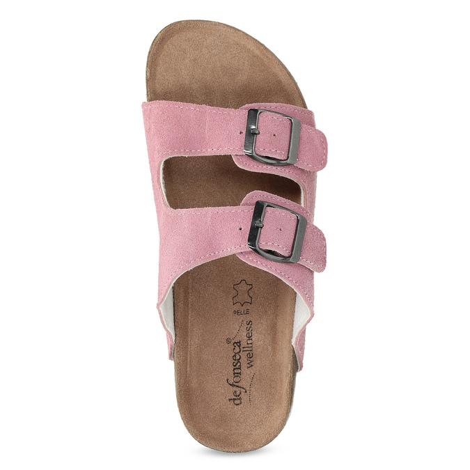 Kožená domácí obuv dámská de-fonseca, růžová, 573-5621 - 17