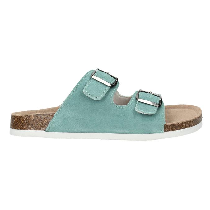 Modré kožené pantofle de-fonseca, zelená, 573-7621 - 15