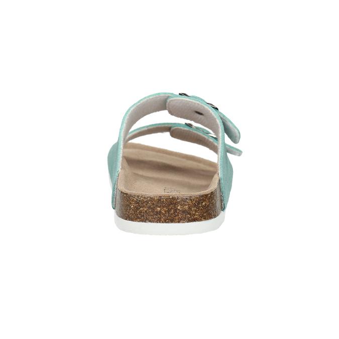Modré kožené pantofle de-fonseca, zelená, 573-7621 - 17