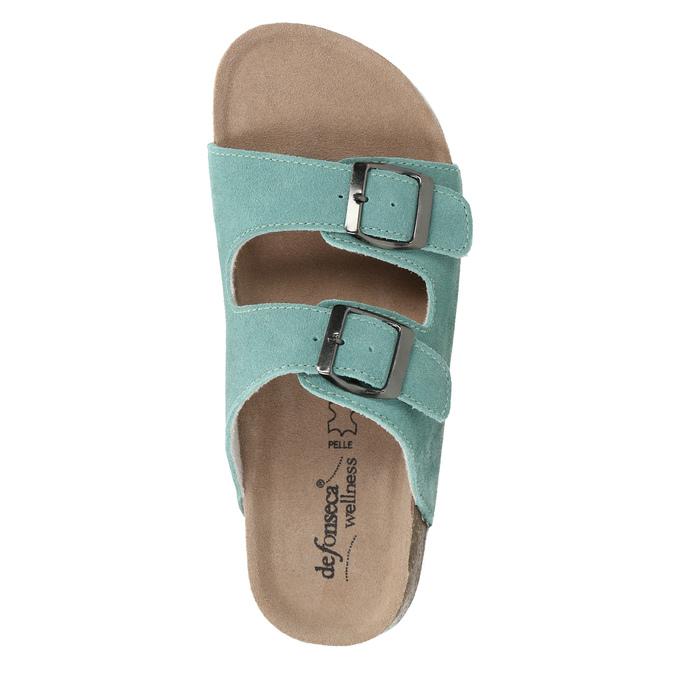 Modré kožené pantofle de-fonseca, zelená, 573-7621 - 19