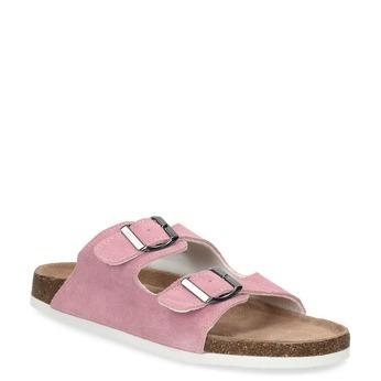 Kožená domácí obuv dámská de-fonseca, růžová, 573-5621 - 13