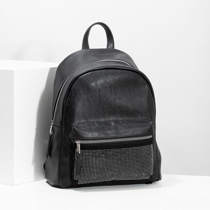 Černý dámský batoh s kamínky bata, černá, 961-6855 - 17
