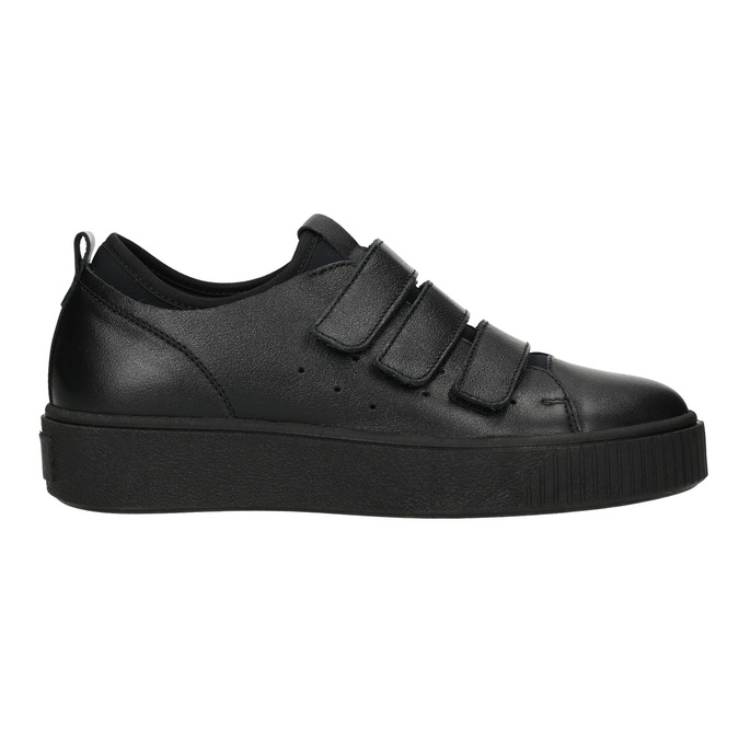 Černé kožené tenisky na suché zipy bata, černá, 526-6646 - 26
