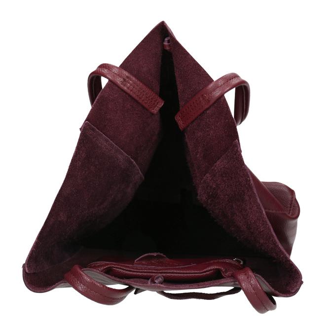 Vínová kožená Shopper kabelka bata, červená, 964-5522 - 15