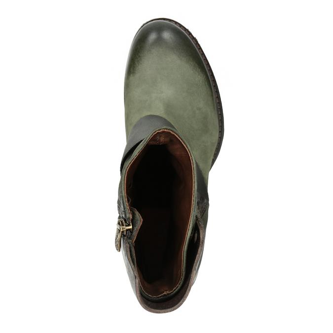 Kožené kozačky na nízkém podpatku a-s-98, zelená, 616-3035 - 15