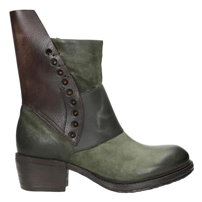 Kožené kozačky na nízkém podpatku a-s-98, zelená, 616-3035 - 26