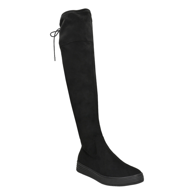 Dámské černé kozačky nad kolena bata, černá, 699-6634 - 13