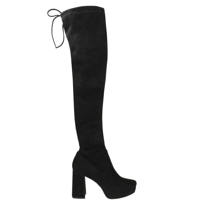 Černé dámské kozačky nad kolena bata, černá, 799-6663 - 15