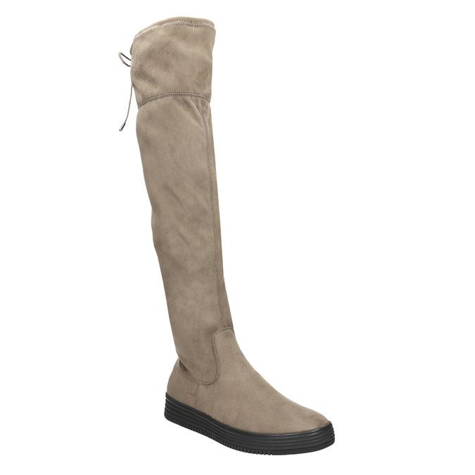 Hnědé dámské kozačky nad kolena bata, hnědá, 699-3634 - 13