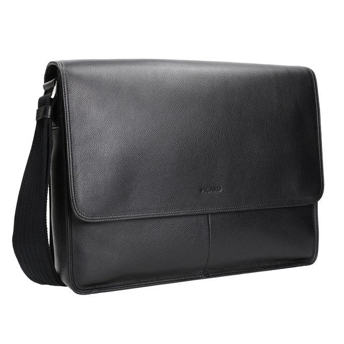 Kožená taška s klopou picard, černá, 964-6098 - 13