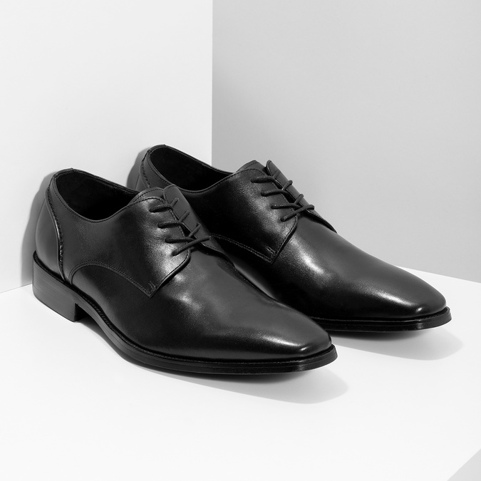 Černé kožené Derby polobotky bata, černá, 824-6405 - 26
