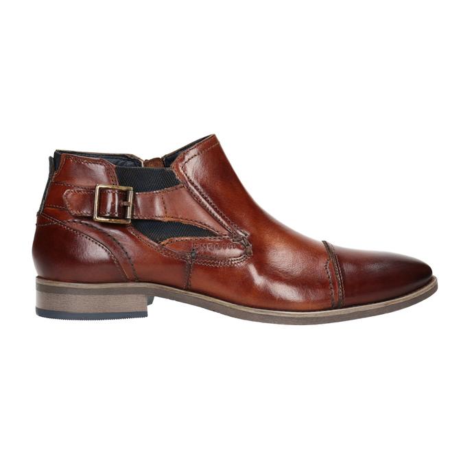 Kožená kotníčková obuv s přezkou bugatti, hnědá, 816-3043 - 26