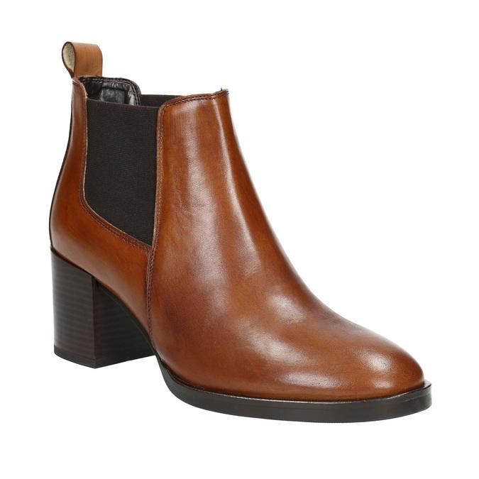 Kotníčková kožená obuv na podpatku bata, hnědá, 694-4641 - 13