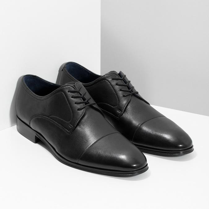 Pánské kožené černé Derby polobotky bata, černá, 824-6406 - 26