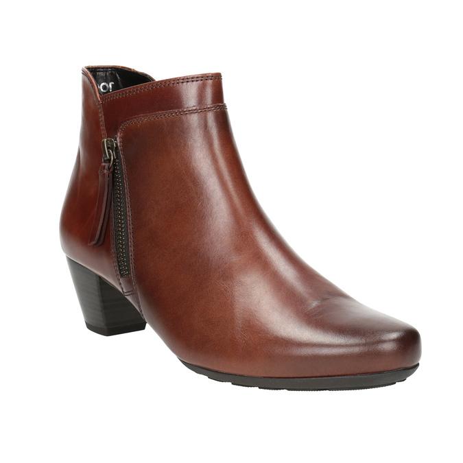 Kožená kotníčková obuv na nízkém podpatku gabor, hnědá, 616-3112 - 13