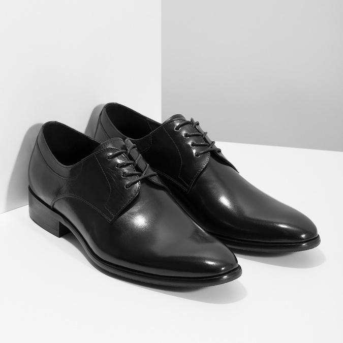 Pánské kožené Derby polobotky bata, černá, 824-6233 - 26