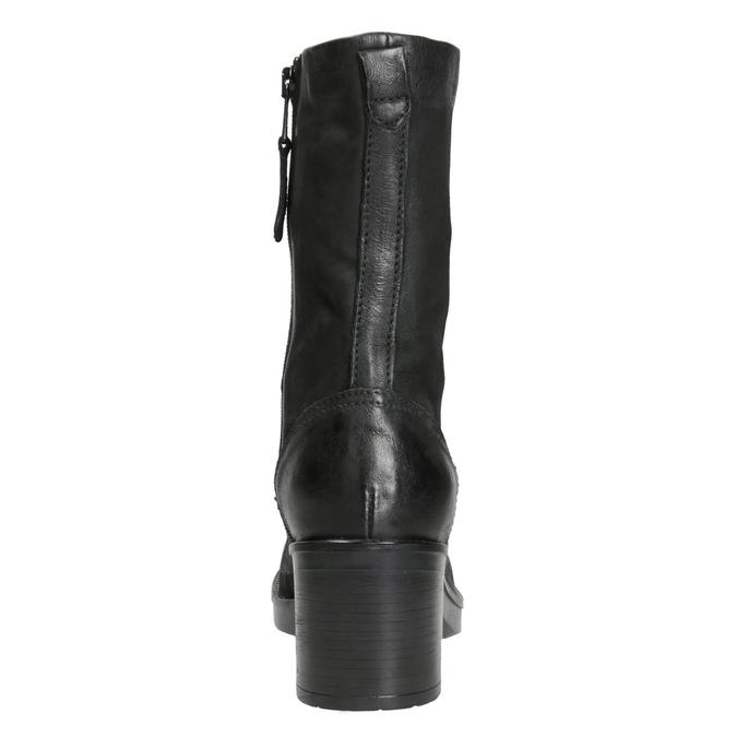 Černé kožené kozačky bata, černá, 696-6646 - 16