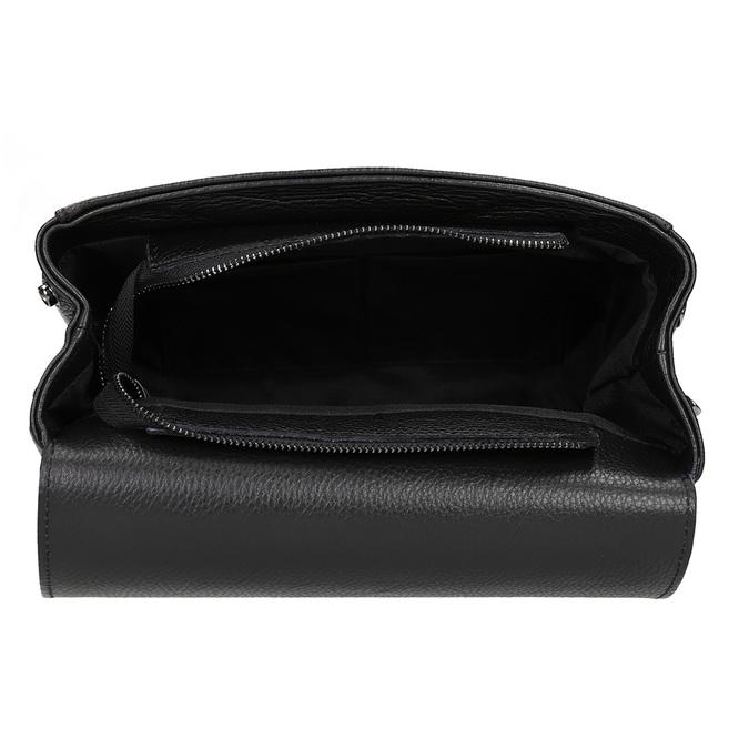 Dámská kožená kabelka s popruhem bata, černá, 964-6248 - 15
