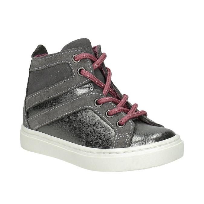 Kožená kotníčková obuv dětská bubblegummers, šedá, 123-2602 - 13