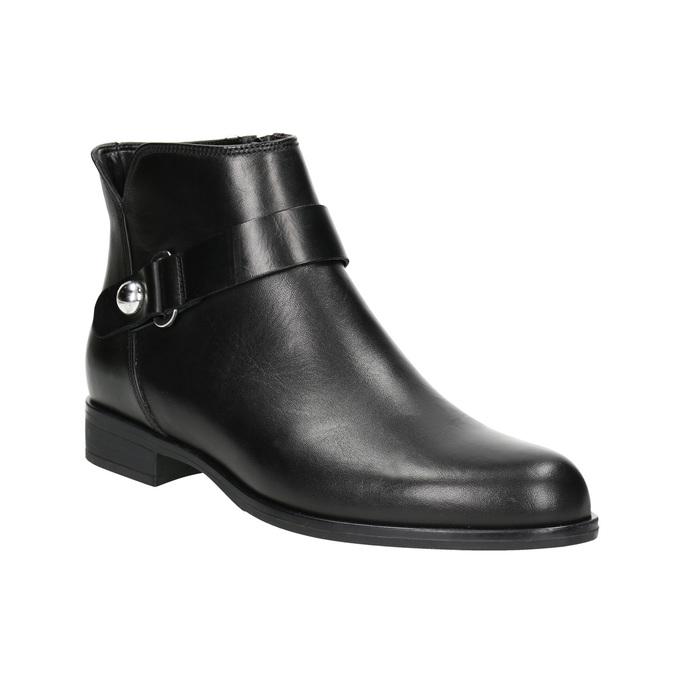 Kožená kotníčková obuv černá bata, černá, 596-6669 - 13