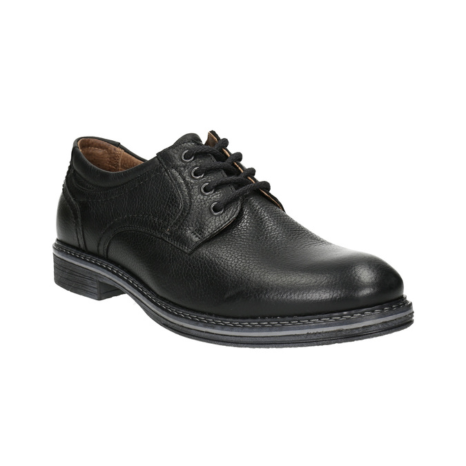 Pánské kožené Derby polobotky bata, černá, 824-6926 - 13