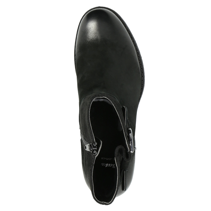 Kožené kotníčkové kozačky s přezkou bata, černá, 696-6621 - 19