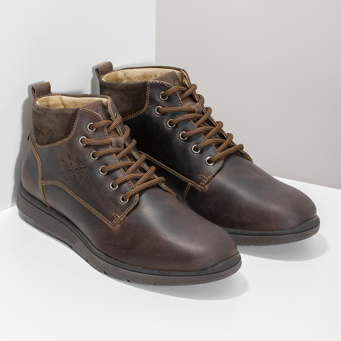 Pánská kožená kotníčková obuv s prošitím bata, hnědá, 846-4645 - 26